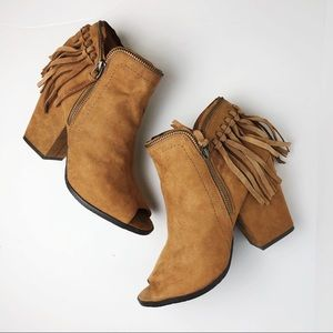 Brown/Tan Suede Tassel Booties